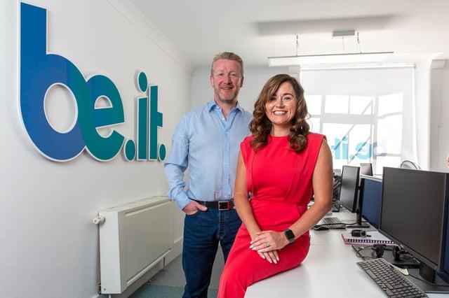 Gareth Biggerstaff CEO and Nikola Kelly managing director, both of Be-IT.