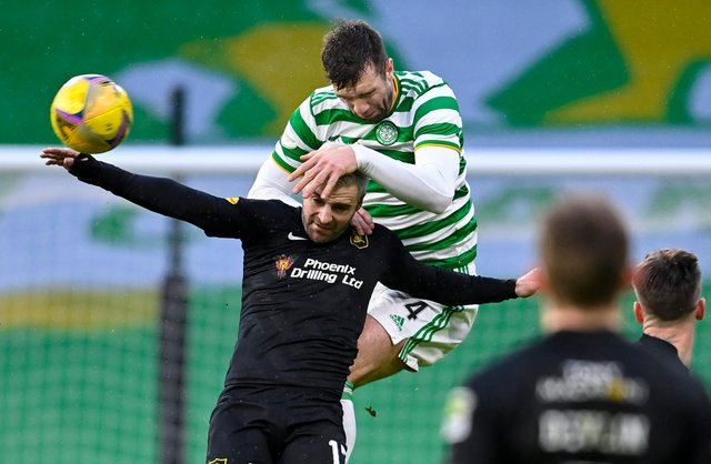 Shane Duffy has been dominant in the air this season for Celtic. Picture: SNS