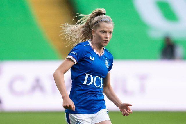 GLASGOW, SCOTLAND - APRIL 21: Brogan Hay in action for Rangers during a SWPL match  between Celtic and Rangers at Celtic Park, on April 21, 2021, in Glasgow, Scotland. (Photo by Craig Foy / SNS Group)
