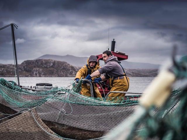 Salmon farming on Loch Duart.