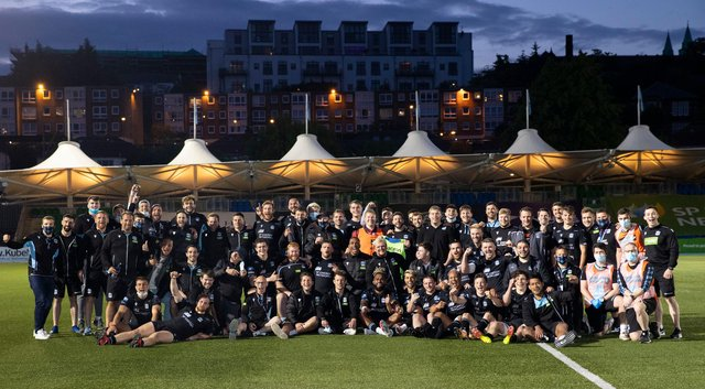The Glasgow Warriors squad get together after the final home game of the season. Picture: Craig Williamson/SNS