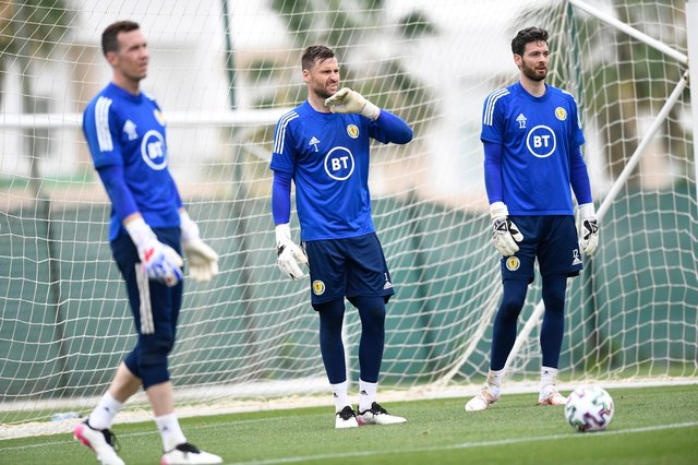 Scotland goalkeepers Jon McLaughlin, David Marshall and Craig Gordon during a training session at La Finca Resort in Alicante, Spain, at the weekend.