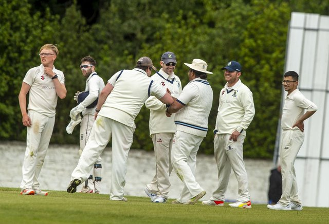 Celebrations for Grange en route to their win over Stoneywood-Dyce at Portgower Place. Picture: Lisa Ferguson      Grange v Stoneywood-Dyce