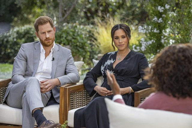 The Duke and Duchess of Sussex, Harry and Meghan, during their interview with Oprah Winfrey (Picture: Joe Pugliese/Harpo Productions/PA Wire)