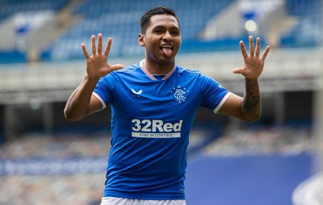 Alfredo Morelos signals his delight after making it 2-0 to Rangers against St Mirren as the Ibrox club moved in on their 55th league title win. (Photo by Craig Williamson / SNS Group)
