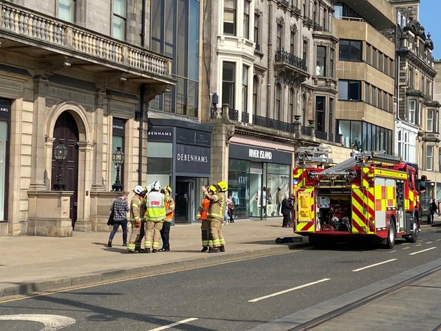 Scottish Fire and Rescue Service dealing with an ongoing incident in Princes Street picture: Lisa Ferguson/JPI Media