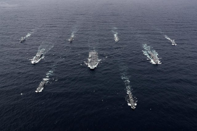 The full UK Carrier Strike Group assembled for the first time during an exercise in October last year, with aircraft carrier HMS Queen Elizabeth leading a flotilla of destroyers and frigates.