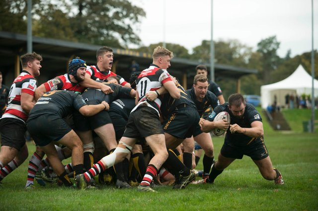 Saturday 14th of September 2017: Rugby: Currie Chieftains V Stirling County. Currie number 2 Callum Mackintosh goes over for their first try