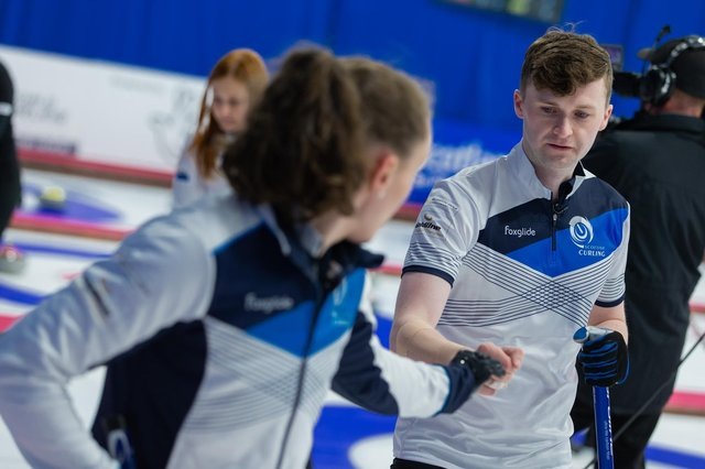 Scotland's Jen Dodds and Bruce Mouat at the World Mixed Doubles Curling Championships in Aberdeen. Picture: WCF/Celine Stucki