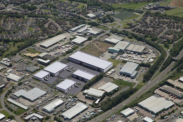A computer generated image showing how the new Bellshill logistics facility would look in its surroundings.