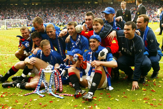 """Rangers celebrate their 2002 Scottish Cup final success that brought Alex McLeish his first win in the competition as Ibrox manager and provided him with one of his """"favourite"""" football memories. (Photo by SNS)."""