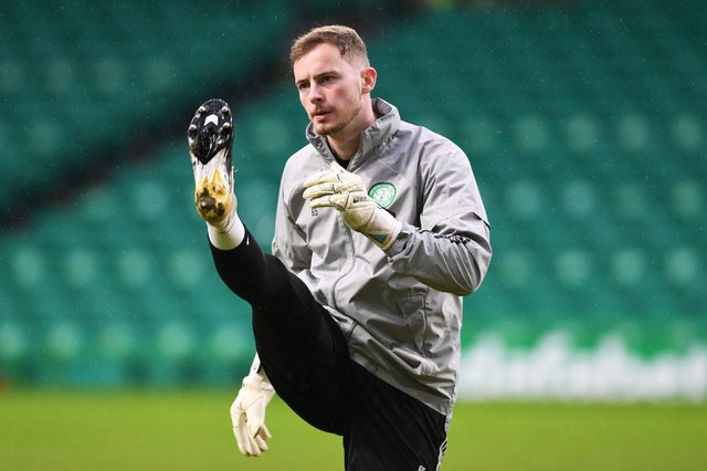 Celtic's Conor Hazard warms up before his  league debut for Celtic against Kilmarnock on December 13, 2020 (Photo by Craig Foy/SNS)