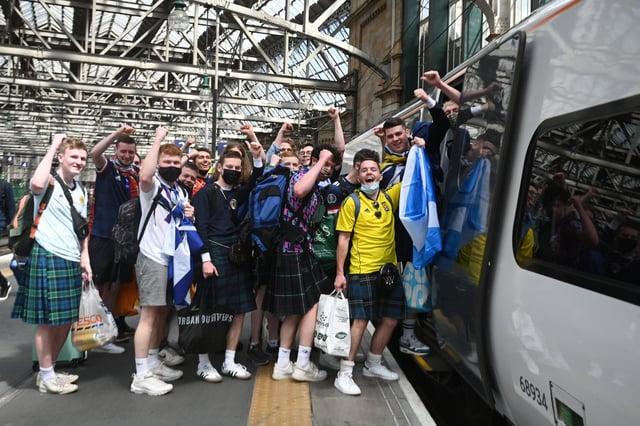 The Tartan Army head for Wembley yesterday ahead of tonight's England v Scotland match.