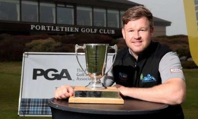 Paul O'Hara shows off the Northern Open trophy at Portlethen after landing the prize for a second time. Picture: PGA Scotland