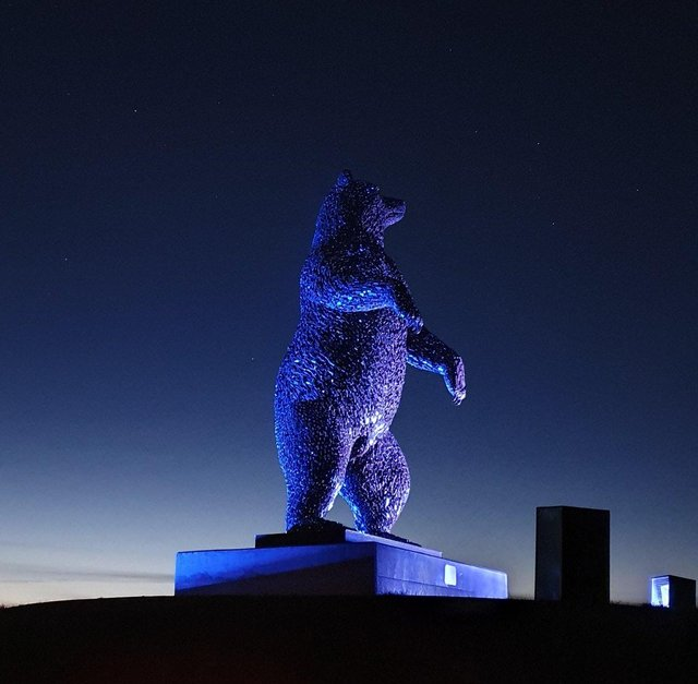 To commemorate the first battle of Dunbar in 1296,  the five-metre high DunBear steel sculpture will be illuminated in blue and white on April 27 (Photo: Stalactite Photography).