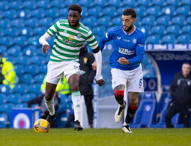 Celtic's Odsonne Edouard holds off Rangers' Connor Goldson in the pair's last derby meeting in January. (Photo by Alan Harvey / SNS Group)