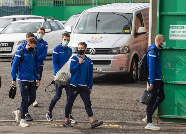 St Johnstone's players arrive for the Celtic Park encounter, with all travelling individually by car as a result of covid-issues that denied them the services of eight players for the 4-0 defeat. (Photo by Craig Williamson / SNS Group)