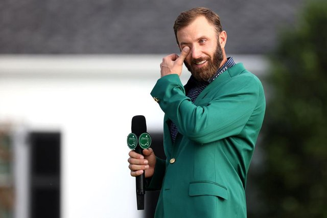 Dustin Johnson wipes away a tear during the Green Jacket ceremony after winning the 2020 Masters at Augusta National Golf Club last November. Picture: Rob Carr/Getty Images.