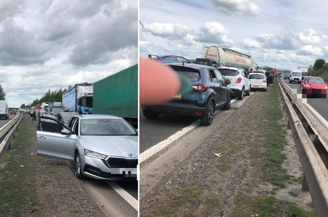Motorists currently caught in long tailbacks following a crash near J11 on the M74.