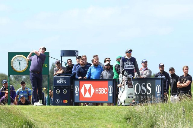 Bob MacIntyre plays his shot from the seventh tee during the second round of the 149th Open at Royal St George's. Andrew Redington/Getty Images.