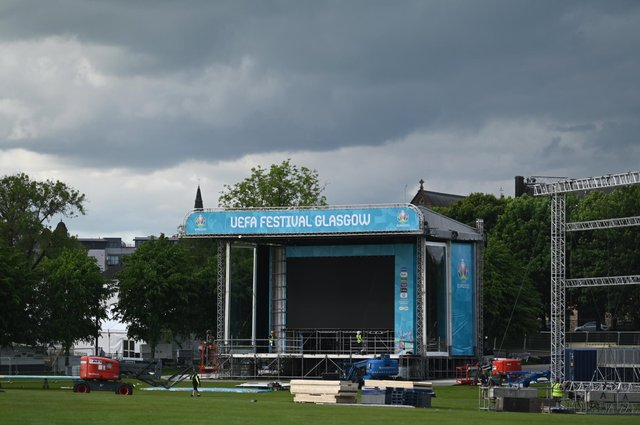 The Fan Zone for EURO 2020 is being built as preparations are ramped up ahead of kick off. A giant tv screen is installed for fans.