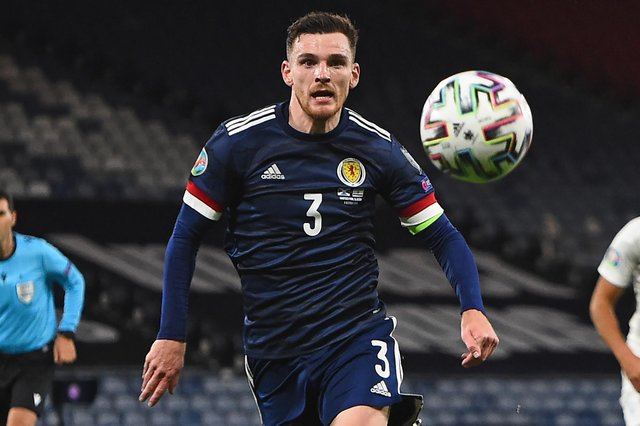 Scotland's defender Andrew Robertson plays his club football for Liverpool.  (Photo by ANDY BUCHANAN/AFP via Getty Images)