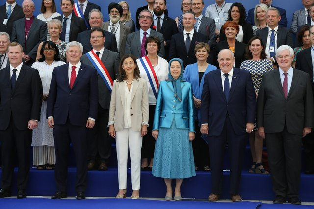 This conference near Paris in June 2018 was said to be the target of a bomb plot by alleged Iranian agents. Front row, from left: Canadian foreign minister John Baird, retired Canadian politician Stephen Joseph, Colombian-French politician Ingrid Betancourt, Maryam Rajavi, leader of the People's Mujahedin of Iran, Rudolph Giuliani, attorney to President Donald Trump, and former US Speaker of the House Newt Gingrich (Picture: Zakaria Abdelkafi/AFP via Getty Images)