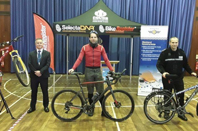 Cyclist Mark Beaumont was helping police launch the new Pedal Protect campaign.