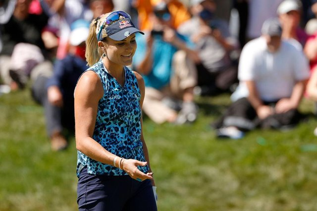 Lexi Thompson reacts to her missed putt on the 18th hole during the final round of the 76th US Women's Open at The Olympic Club in San Francisco. Picture: Ezra Shaw/Getty Images.