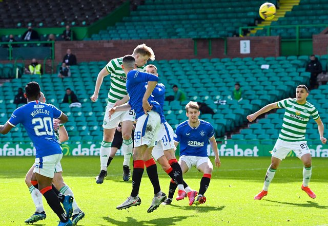 Celtic's Stephen Welsh (centre) has a headed chance during the 1-1 derby draw. (Photo by Rob Casey / SNS Group)