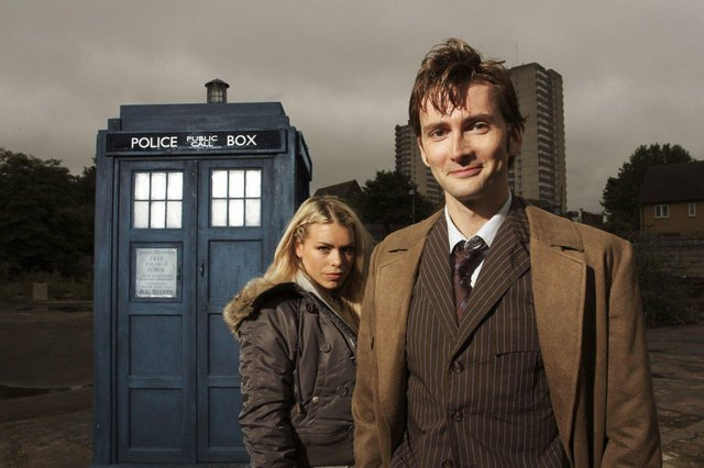 David Tennant as Dr Who with assistant Rose Tyler, played by Billie Piper. Tennant has been voted the best ever Doctor Who.