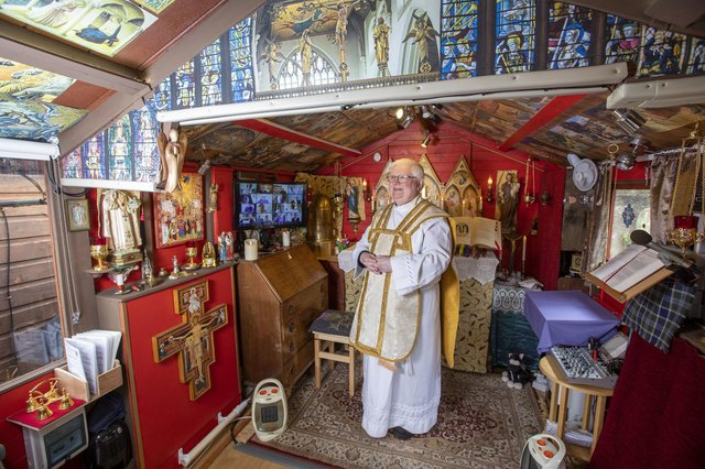 Father Len Black in his shed, the Oratory of St Joseph, in Inverness (Picture: Katielee Arrowsmith/PA Wire)