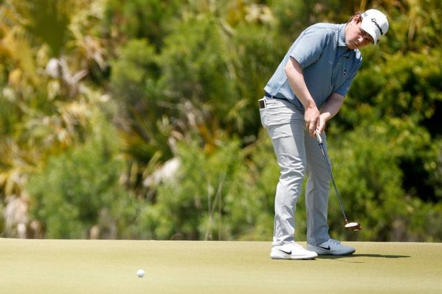 Bob MacIntyre putts on the 11th green during the final round of the 2021 PGA Championship held at the Ocean Course of Kiawah Island Golf Resort in Kiawah Island, South Carolina. Picture: Cliff Hawkins/Getty Images.