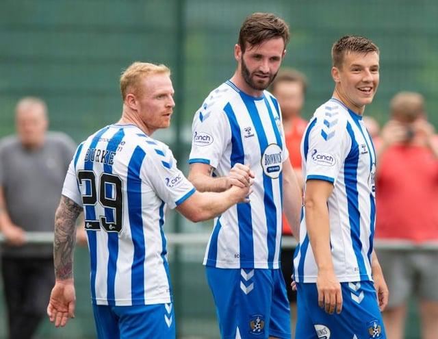 Jason Naismith (centre) celebrates his goal against East Kilbride with Kilmarnock team-mates Chris Burke (left) and Brad Lyons (right). (Photo by Mark Scates / SNS Group)
