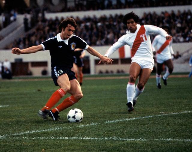 Joe Jordan puts Scotland ahead against Peru in 1978. Picture: SNS