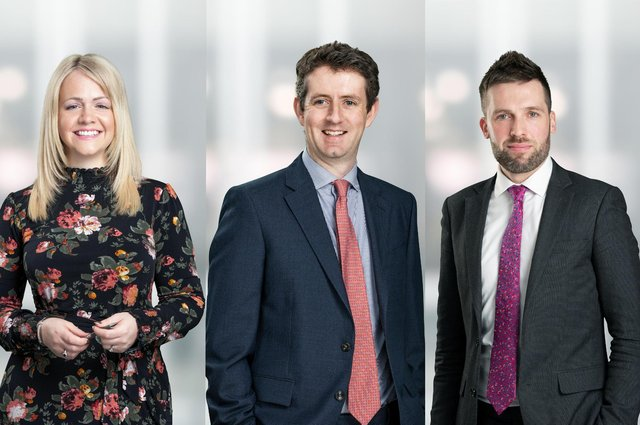 From left, Hayley Robertson, Mark Meiklejohn, and Nick Marshall are among those promoted to partner. Picture: contributed.