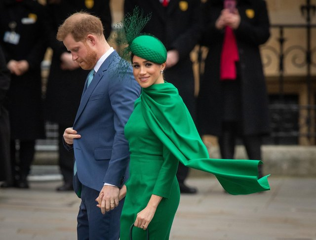 The Duke and Duchess of Sussex arriving at the Commonwealth Service at Westminster Abbey, London.