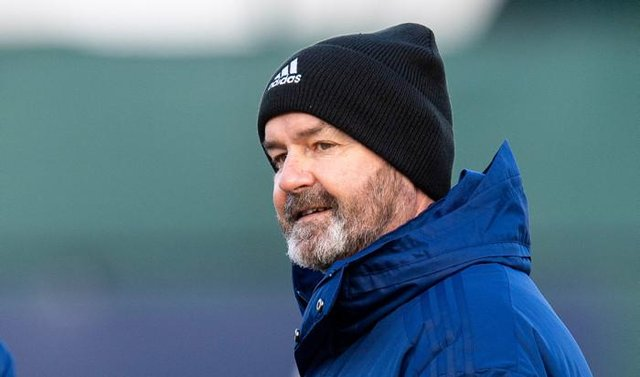 Manager Steve Clarke during a Scotland training session at Oriam, on March 24, 2021, in Edinburgh, Scotland (Photo by Ross MacDonald / SNS Group)