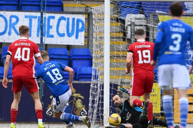 Aberdeen goalkeeper Joe Lewis makes an important late block to deny Ali McCann in Saturday's 1-0 win over St Johnstone in Perth  (Photo by Paul Devlin / SNS Group)