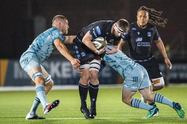 Glasgow Warriors' Hamish Bain drives forward during the Guinness Pro14 match with Leinster