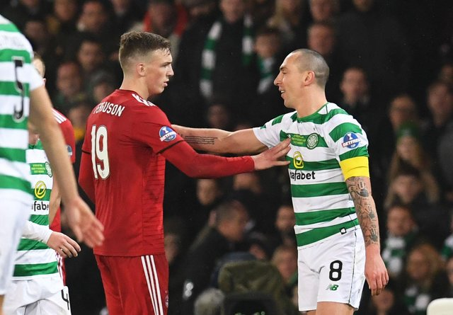 Celtic's Scott Brown noises up Aberdeen's Lewis Ferguson at the 2018 League Cup final - one of many such teasing moments the long-time pivotal Parkhead figure has indulged in against a Pittodrie side it has been reported he could join in the summer. (Photo by Craig Foy/SNS Group).