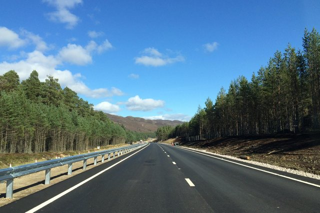 The Kincraig-Dalraddy stretch near Aviemore is the only one of 11 new sections of A9 dual carriageway to have been completed. Picture: Transport Scotland