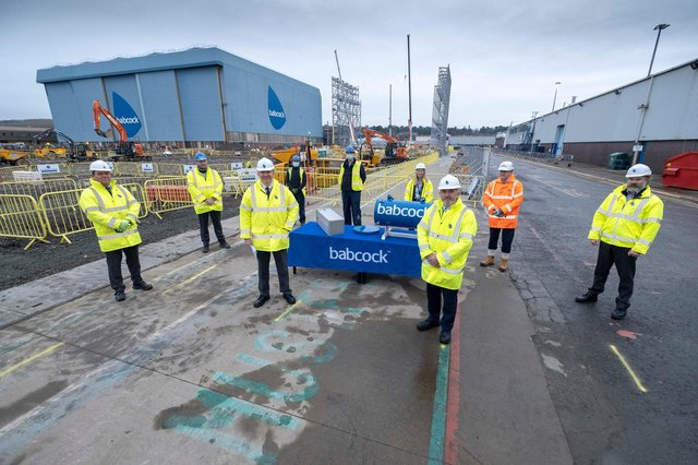 Babcock said it had marked the construction milestone by burying a commemorative time capsule at the site of the new facility in Rosyth. Picture: Peter Devlin