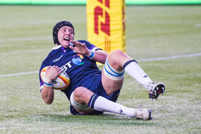 Lewis Carmichael scores a try on his Scotland debut, against Canada in Edmonton in 2018. Picture: Gary Hutchison/SNS