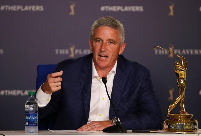 PGA Tour commissioner Jay Monahan speaks to the media during last year's The Players Championship at TPC Sawgrass in Ponte Vedra Beach, Florida. Picture: Gregory Shamus/Getty Images.