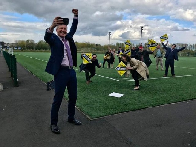Willie Rennie celebrates his record majority as he comfortably retains his north-east Fife seat at the Scottish Parliament