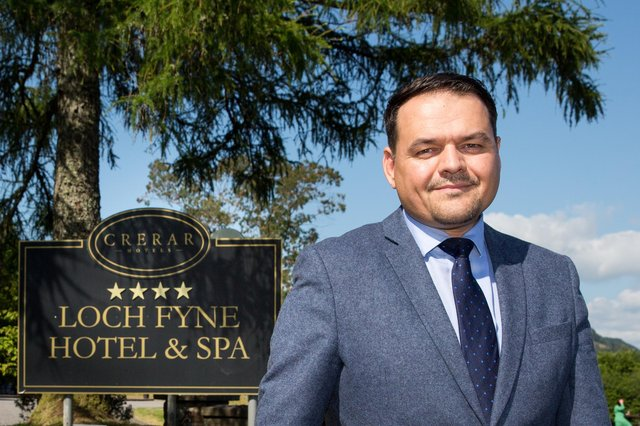 Crerar Hotels CEO Chris Wayne-Wills outside the Loch Fyne Hotel and Spa. Picture: Robert Perry