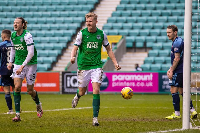 Hibs youngster Josh Doig celebrates his first senior goal for the club as the Easter Road side beat 10-man Hamilton. Photo by Craig Williamson / SNS Group