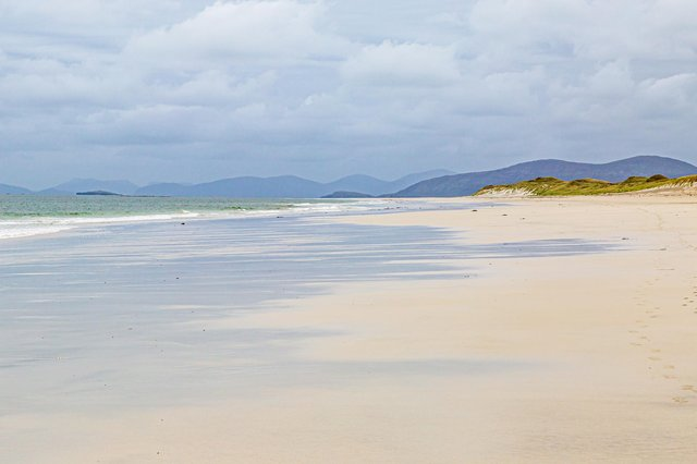 The West Beach on the Isle of Berneray is described as a 'ravishing three-mile expanse of white sand' by Lonely Planet. Picture: Getty Images/iStockphoto