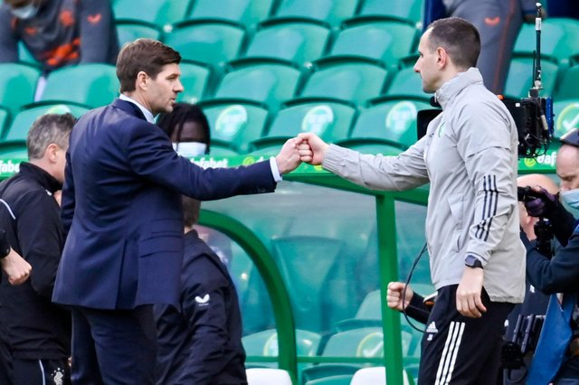 Rangers boss Steven Gerrard and Celtic counterpart John Kennedy. Picture: SNS